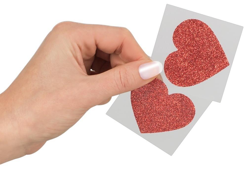 Cottelli Collection Nipple Sticker Heart, červené samolepky na bradavky ve tvaru srdíček 2 ks