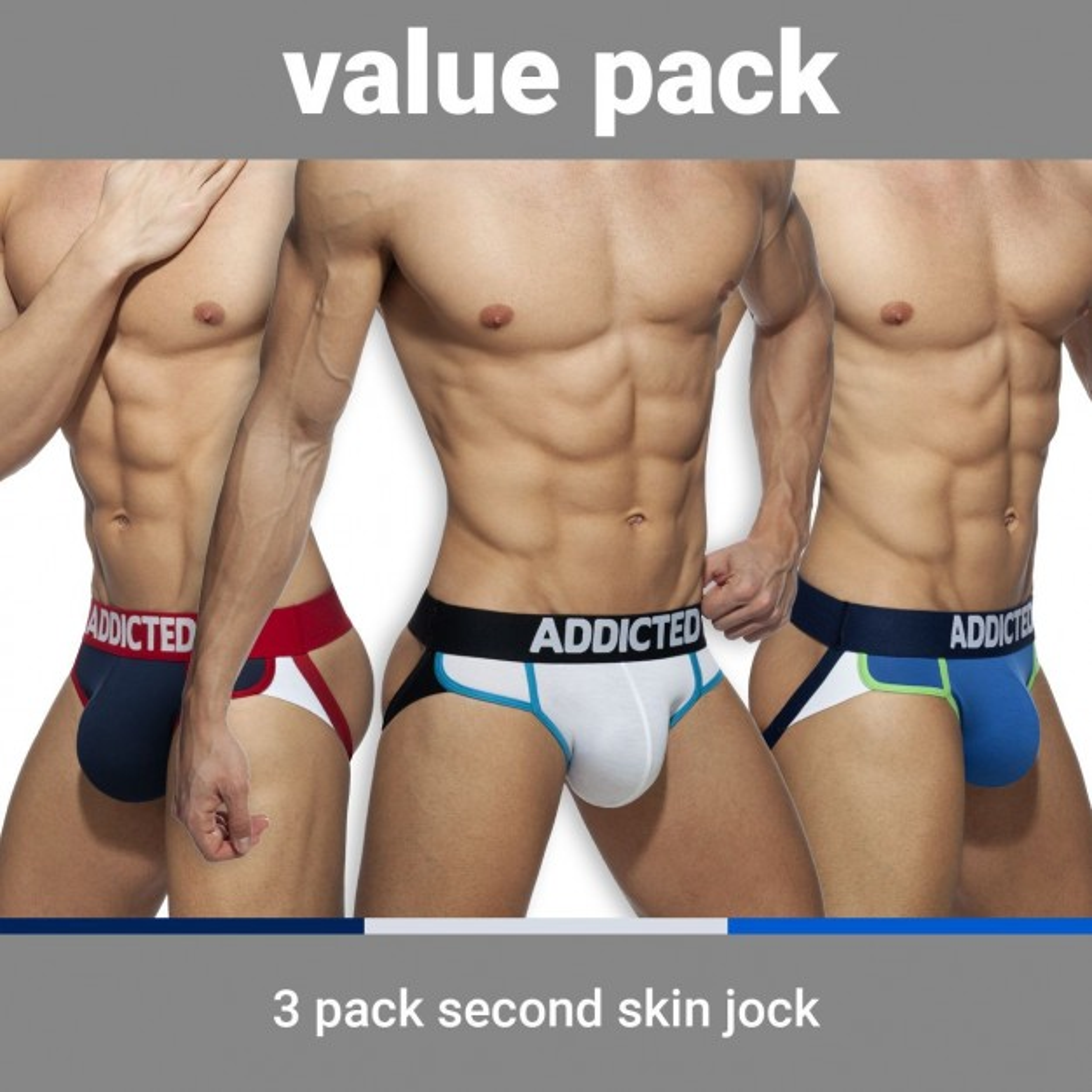 Addicted AD899 Second Skin 3 Pack Jock