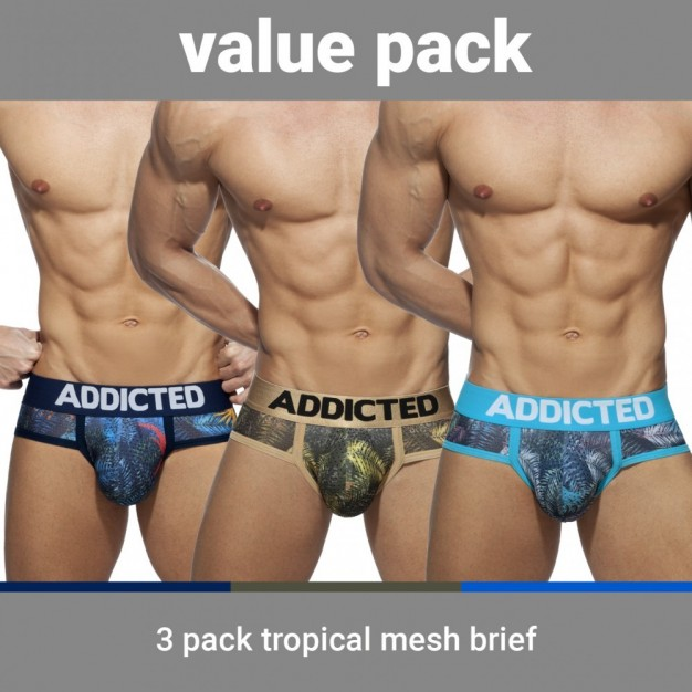 Addicted AD889P Tropical Mesh Brief Push Up 3 Pack