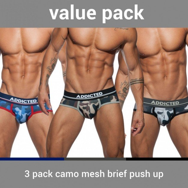 Addicted AD697P 3 Pack Camo Mesh Brief Push Up