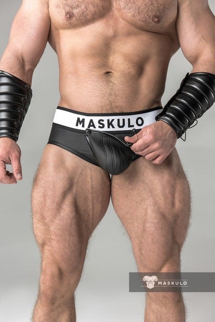 Slipy Maskulo BR12-90 Rubber Look Briefs černé