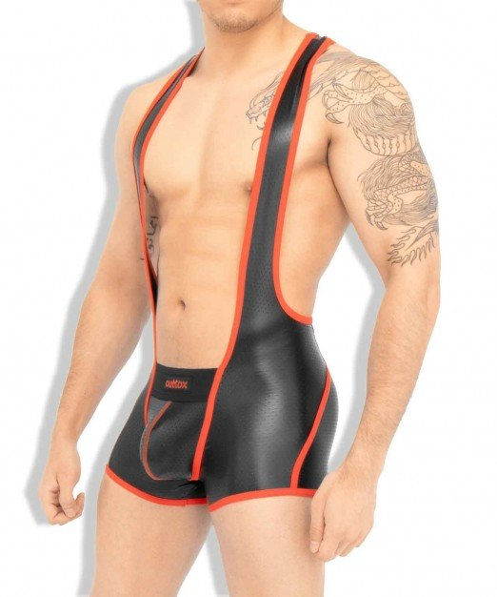 Singlet Outtox WS142-10 Zippered-Rear Wrestling Singlet červený