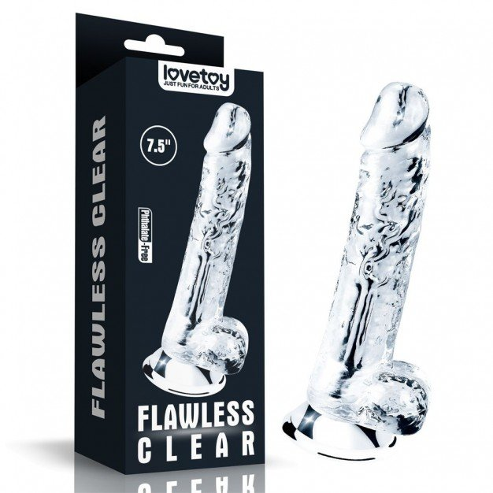 Lovetoy Flawless Clear Dildo 7.5″, dildo s přísavkou a varlaty 18,5 x 3,4 cm