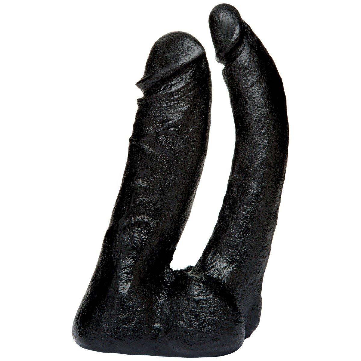 Doc Johnson Vac-U-Lock CodeBlack Double Penetrator, černé realistické dvojité dildo 17 x 3,7 / 2,5 cm