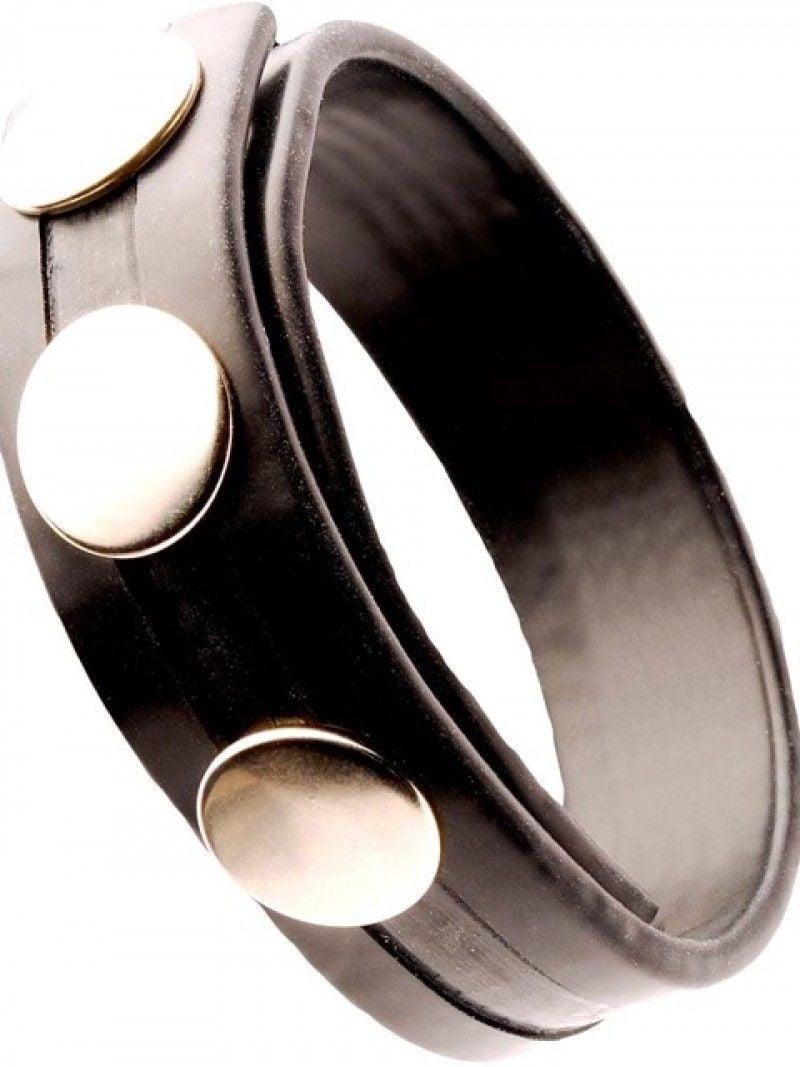 Gumový erekční kroužek M&K Rubber Cock Strap černý, nastavitelný pásek na penis a varlata