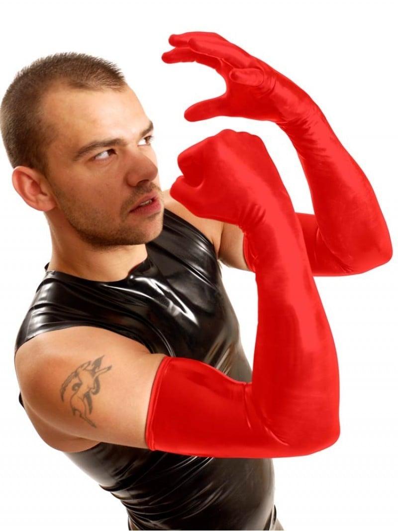 Latexové rukavice k ramenům M&K Shoulder Gloves červené S, dlouhé silné rukavice pro fisting