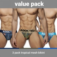 Addicted AD891P Tropical Mesh Bikini Push Up 3 Pack