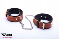 Whips Leather Ankle Cuffs for Him Cognac