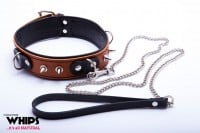 Whips Slave Leather Collar with Leash for Him Cognac