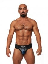 Mister B Leather Premium Jockstrap Black-Blue