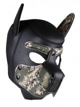 Psia maska Neoprene Puppy Hood maskáčovo-čierna
