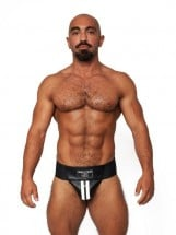 Mister B Leather Premium Jockstrap Black-White