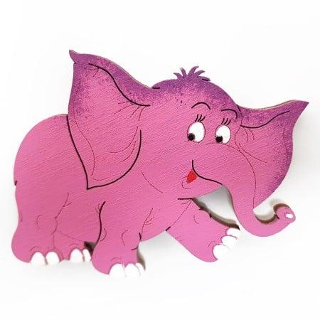 Růžový slon – dřevěná magnetka