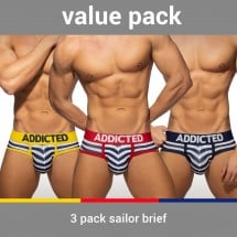 Addicted AD964P 3 Pack Sailor Brief