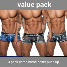Addicted AD698P 3 Pack Camo Mesh Boxer Push Up