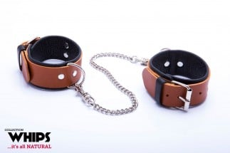 Whips Leather Handcuffs for Him Cognac