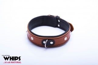 Whips Leather Collar for Her Cognac