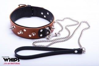Whips Leather Collar with Leash for Him Cognac