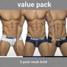 Addicted AD475P 3 Pack Mesh Brief Push Up